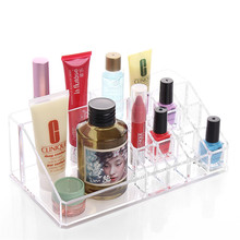 Clear Acrylic Trapezoid 16 Lattices Lipsticks Cosmetic Organizer display  storage 6615
