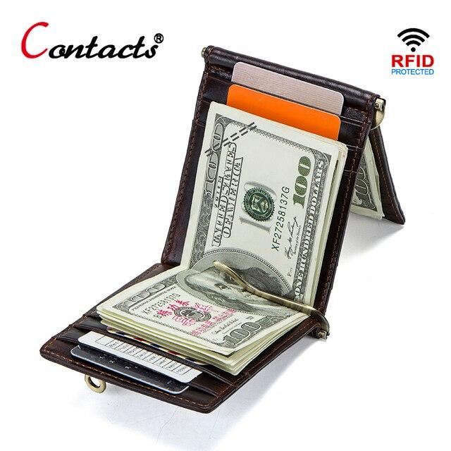 a6ecb8569 CONTACT'S Caballo loco de cuero piel vaca RFID dinero clip cartera tarjeta  triple hombre efectivo abrazadera titular la moneda bolsillo