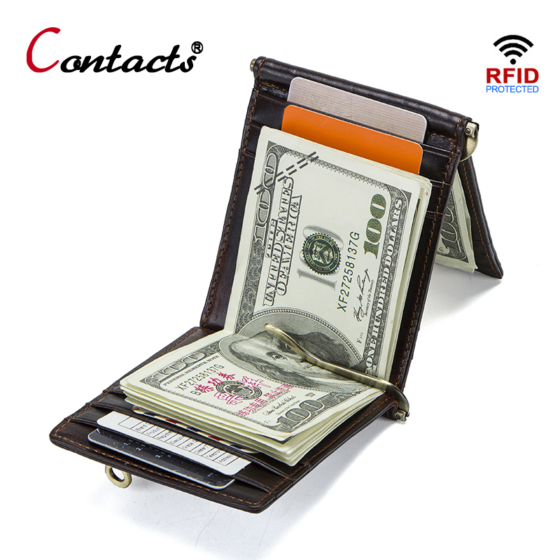 CONTACT'S Crazy Horse Cowhide Leather RFID Money Clip Wallet Card Wallet Trifold Male Cash Clamp Man Cash Holder Zip Coin Pocket
