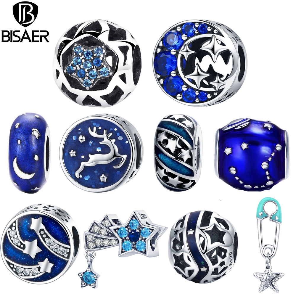 BISAER 925 Sterling Silver Blue STARS Moon Snowflake Perles Star Beads Charms Fit Women Charm Bracelets Silver 925 Jewelry BISAER 925 Sterling Silver Blue STARS Moon Snowflake Perles Star Beads Charms Fit Women Charm Bracelets Silver 925 Jewelry