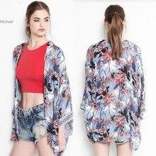 Kimono Cardigan  Fashion Women Summer Spring Shirts European Style Chiffon Blouse Floral Print Blouse B2