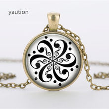 Hot! Fashion Mandala Flowers Glass Pendant Necklace Fashion Women and Men Necklace(China)