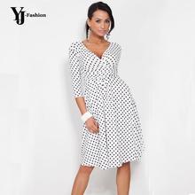 YJ Moda Artı Boyutu Hanım 2016 Ilkbahar Yaz Hanımefendi Polka nokta Ofis Işleri OL Elbise Casual Vintage Tunik Sıkı Analık elbise