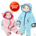 Nuevo estilo coral polar bebé mameluco del bebé de los muchachos con capucha de manga larga espesar caliente del invierno del otoño recién nacido toddle outwear