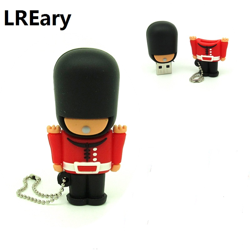 New Arrival Cartoon British Soldier Usb Flash Drive Army Gift Pen Drive 4g 8g 16g 32g U Disk Memoria Stick Pendrive Keychain