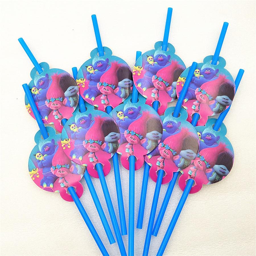 10pcs/bag Trolls Party Supplies Drinking Straws Cartoon Birthday Party Decoration Baby Shower Theme Festival For Kids Girls Boys