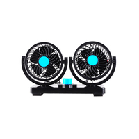 CARGOOL Car Fan Dual Head Air Cooling Fan Silent Vehicle Ventilator With Sticker 2 Modes 360