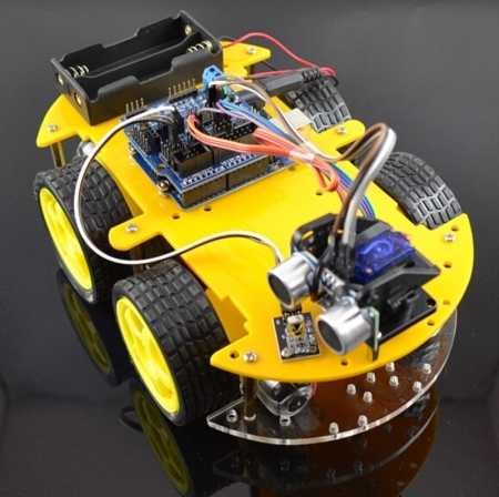 DIY Robot Car Set 4WD Smart Car Learning Starter Set Multi-function Bluetooth Infrared Receiver Sensor Car for Mini Robot Parts