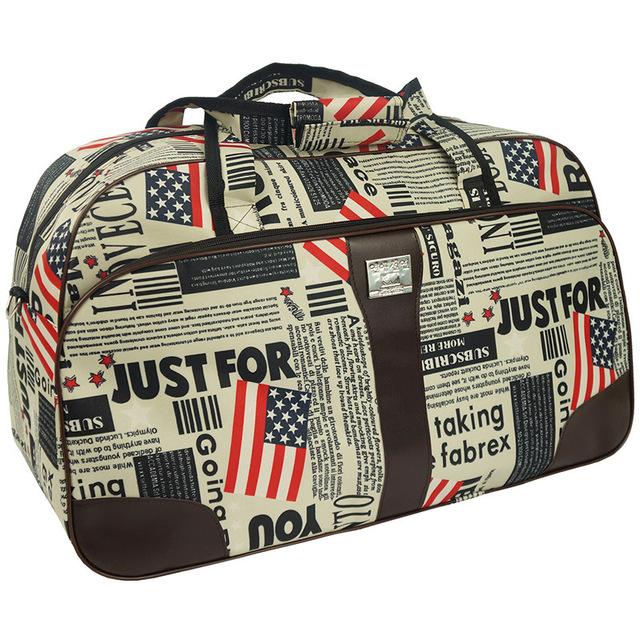 Bolsa de Viagem à prova d' água Saco de Viagem dos homens de Estilo Europeu Americano Letra Impressa Zipper Saco Grande Capacidade Vkystar 372