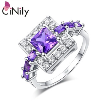 Silver Plated Princess Cut Purple Zircon Square Shape Ring