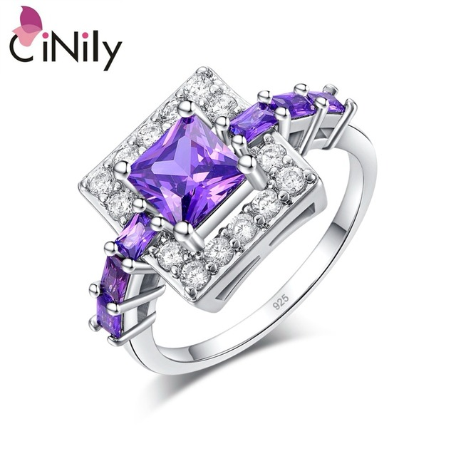 CiNily Luxury Full Crystal Stone Princess Ring Silver Plated Cut Zircon Purple V