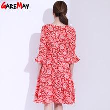 Flower Print A Line Deep V Neck seven Sleeve Ruffles Knee length dresses