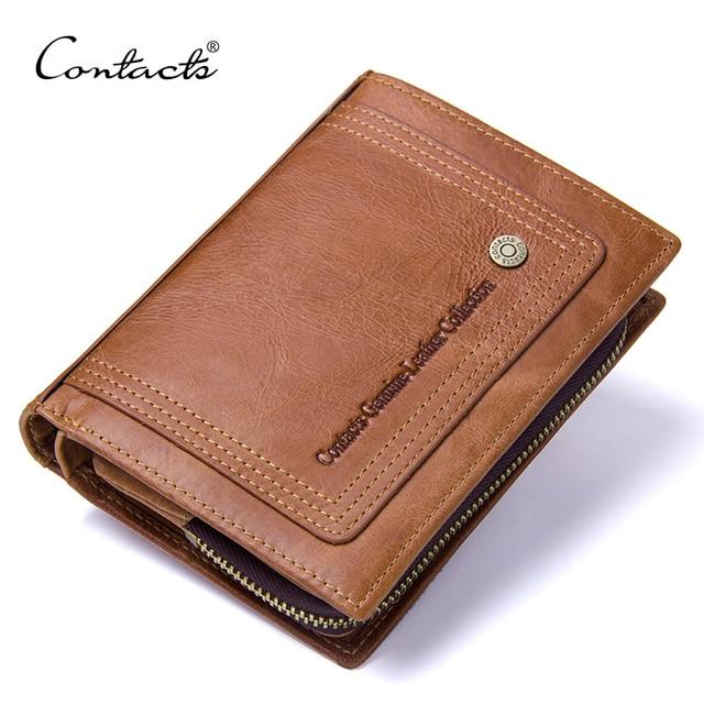 CONTACT'S Винтаж короткие Для мужчин кошельки из натуральной кожи Для мужчин бумажник Hasp Дизайн на молнии портмоне держатель для карт кошельки для мужчин
