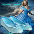 Azul princesa shoes 2017 glitter pu shoes é meia noite da cinderela cinderela da menina glitter shoes bow snow queen elsa shoes
