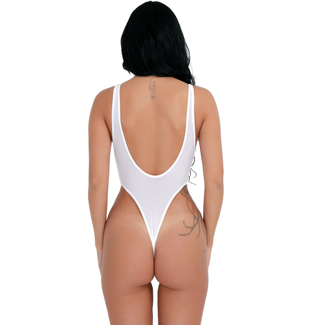 High Cut Backless See-through Thong Leotard