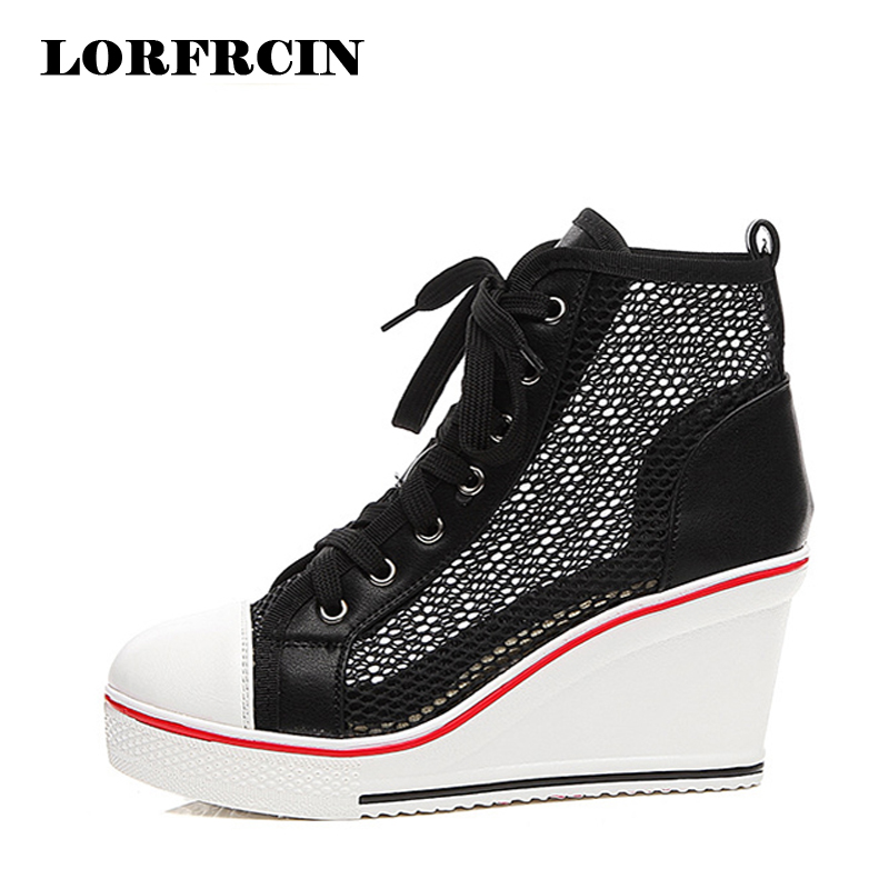 Plus Size 42 Summer Shoes Woman Mesh Wedge Platform Shoe 8cm Heel High Top Casual Elevator Shoes Black White Pink Women Trainers alfani new black women s size small s mesh back high low ribbed blouse $59 259