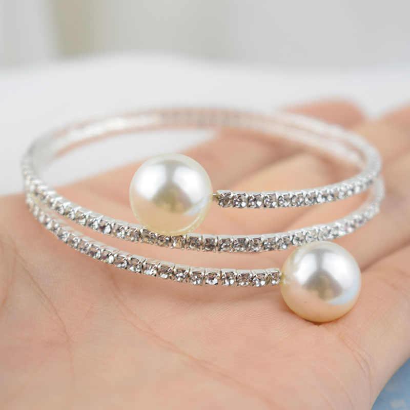 אופנה חיקוי פרל קריסטל צמיד גבירותיי זהב כסף מצופה צמיד 1/2 שורה ריינסטון קאף צמיד Pulseras Mujer מתנה