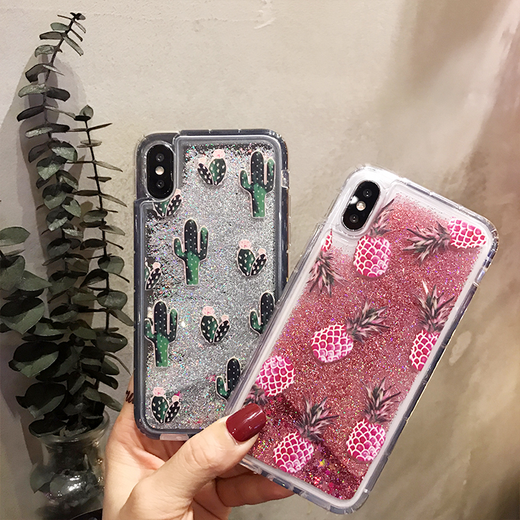 Bling Glitter Dynamic Cactus Pineapple Liquid Quicksand Phone Back For iPhone  6 6 S 7 X Case For iPhone 7Plus 8Plus 6SPlus Capa-in Half-wrapped Case from  ... 888b86ce87b2