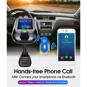 Image 2 - Bluetooth 5.0 FM משדר רכב AUX USB MP3 נגן אלחוטי דיבורית לרכב עם QC3.0 טעינה מהירה 3 יציאות USB רכב מטען
