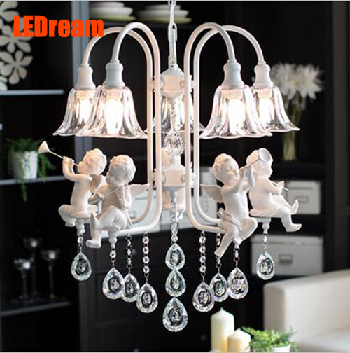 5 head resin angel pendant lamp, wrought iron glass crystal personality angel restaurant bedroom chandeliers iron angel