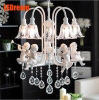 5 kopf harz engel pendelleuchte, schmiedeeisen glas kristall persönlichkeit engel restaurant schlafzimmer kronleuchter