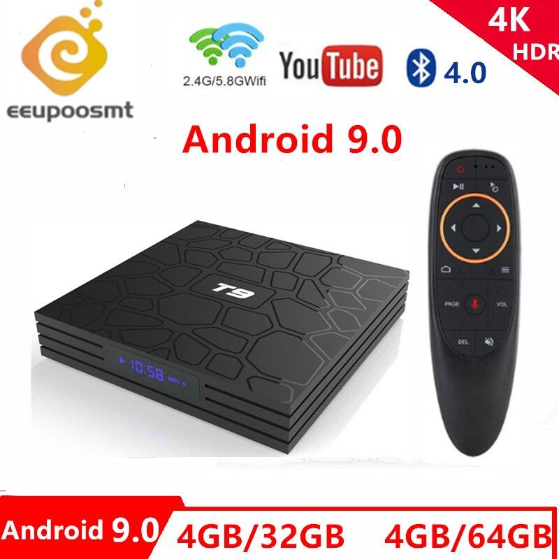 T9 Tv Box 4GB 64GB Android 9.0 Bluetooth TV Box T9 RK3328/RK3318 Quad Core 4G32G USB 3.0 Smart 4K décodeur 2.4G/5G double WIFI