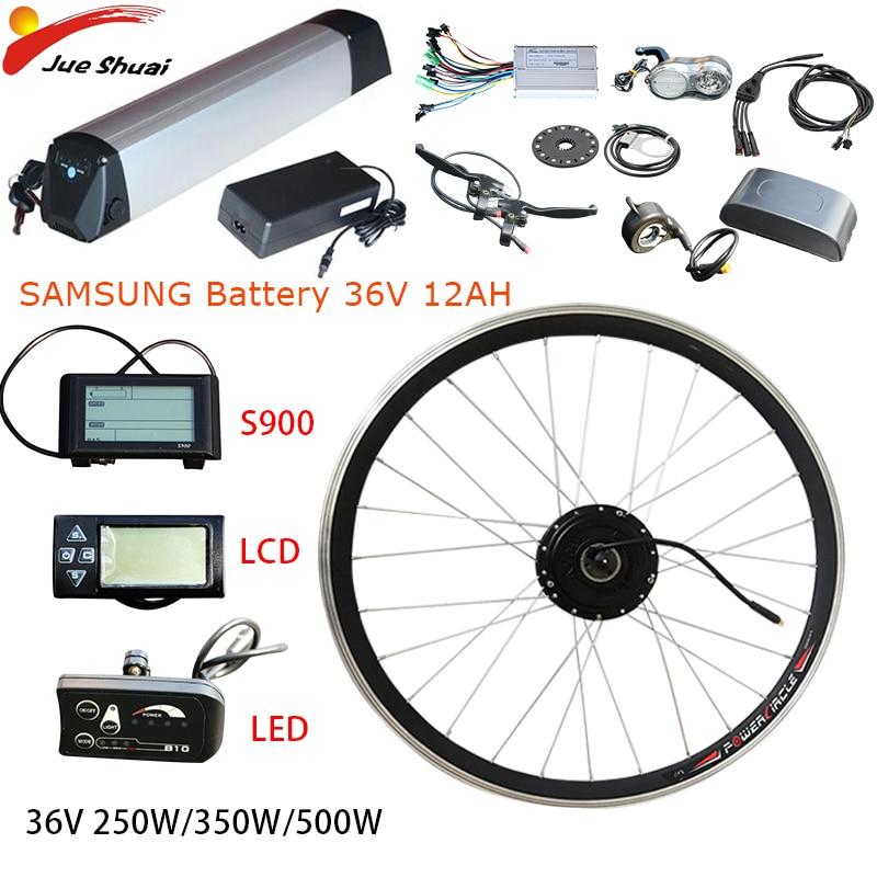36 V 250 W-500 W Ebike Kit batterie de vélo électrique Samsung 36 V 12ah Kit de Conversion moteur électrique roue sans brosse engrenage moyeu moteur