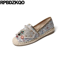 Handmade Woven Espadrilles Designer Rhinestone Flats Hemp Loafers Women  Autumn Spring Bling Sequins Single Shoes Beaded 6658161395f2