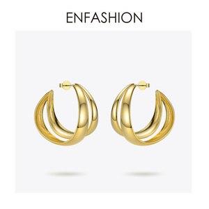 Image 3 - أقراط للنساء من ENFASHION الشرير مزدوجة على شكل حرف C ، أقراط دائرية بمنحنى هندسي كبير ، أقراط مجوهرات Aros EC191043