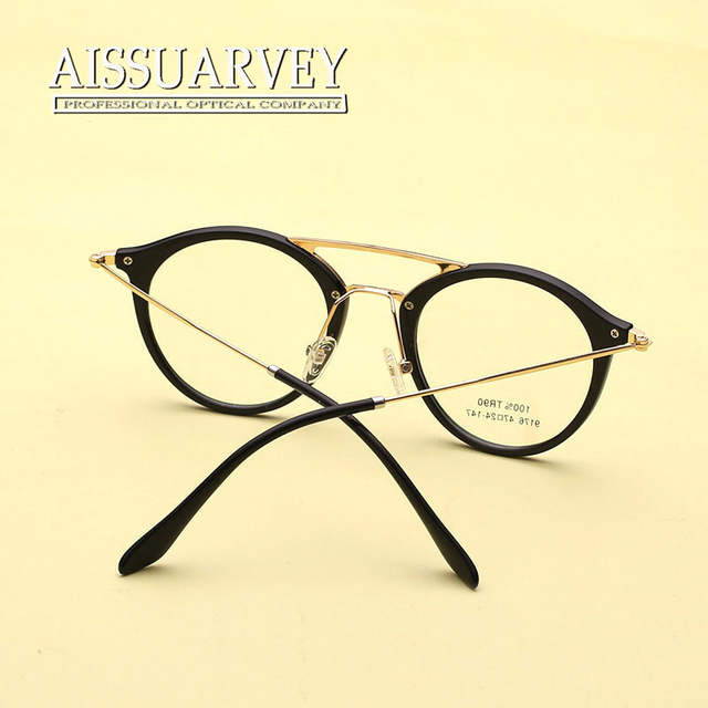 f478a63adf Vintage Round Metal Korean Eyeglasses Double Bridge Optical Eye Glasses  Frame Prescription Clear Lenses Small Classic