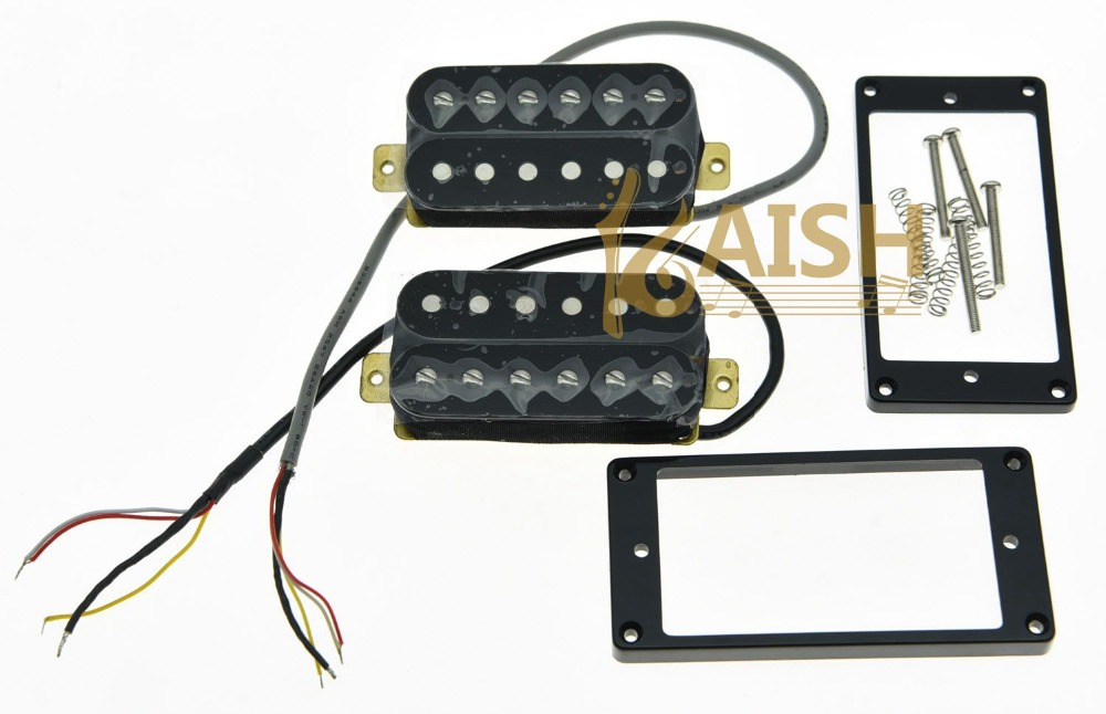 Set of 2 Black Alnico V Guitar Humbucker Neck&Bridge Pickup Power Sound Pickups guitar pickup humbucker gold chrome black double coil pickups electric guitar parts accessories bridge neck set