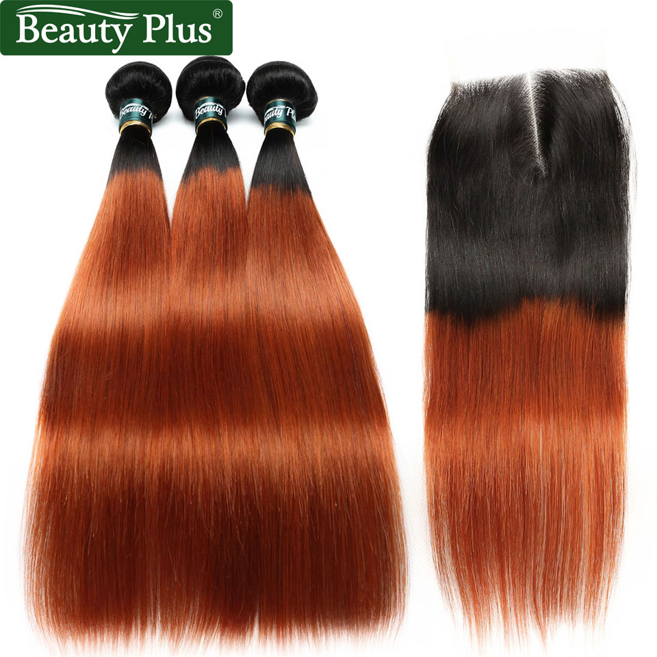 Ombre Human Hair 4 Bundles With Closure Brazilian Straight Hair Beauty Plus Non Remy Dark Roots