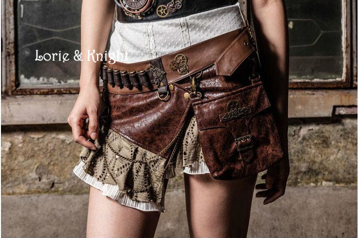 ФОТО Rock Brown PU Steampunk Gothic bag Goth Shoulder Waist Bags Packs  Knight Style Women Men leg Thigh Holster Bag Punk Skirt