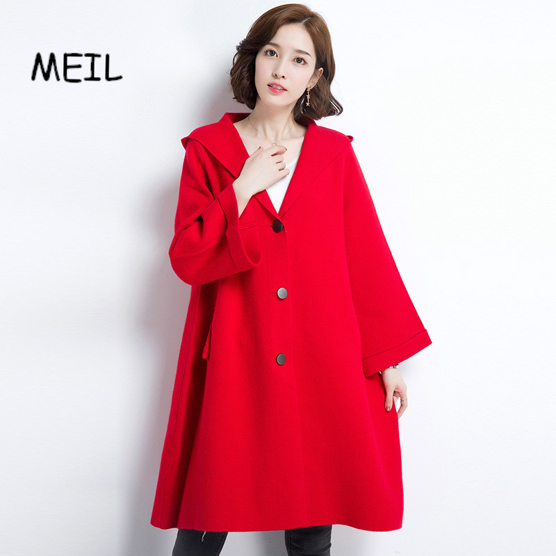 MEIL2017 qiu dong female coat thickening Pure color atmosphere hooded coat cardigan the new children s cubs hat qiu dong with cartoon animals knitting wool cap and pile