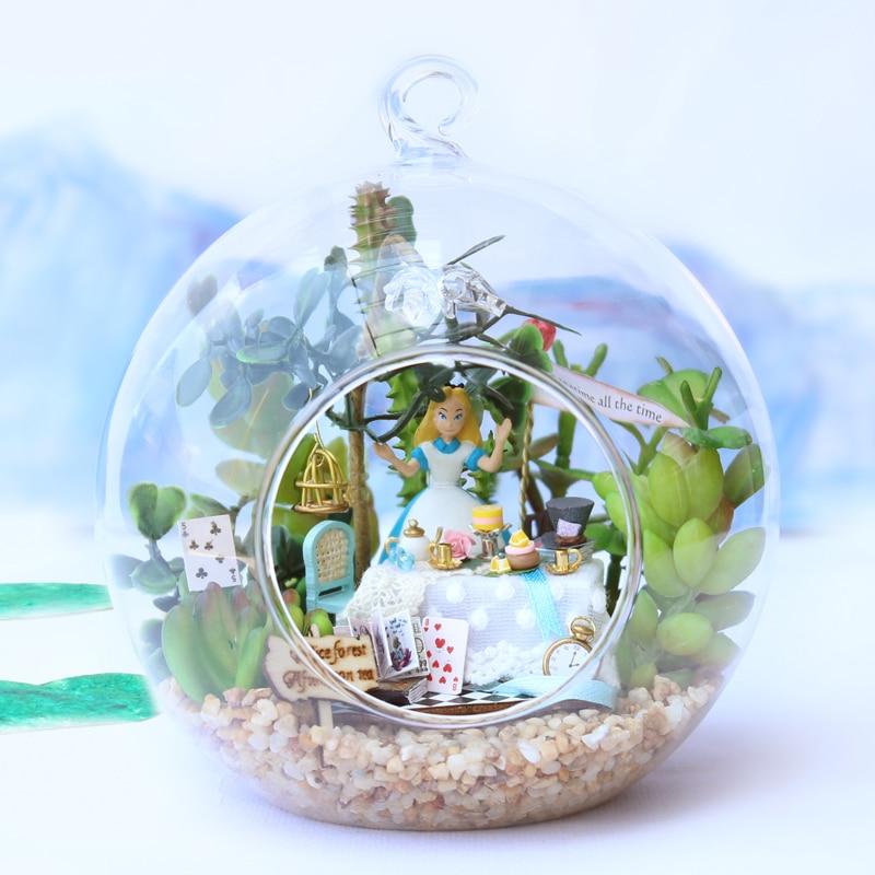 ᐃ3d Miniaturas Verre Bricolage Maison De Poupee En Bois