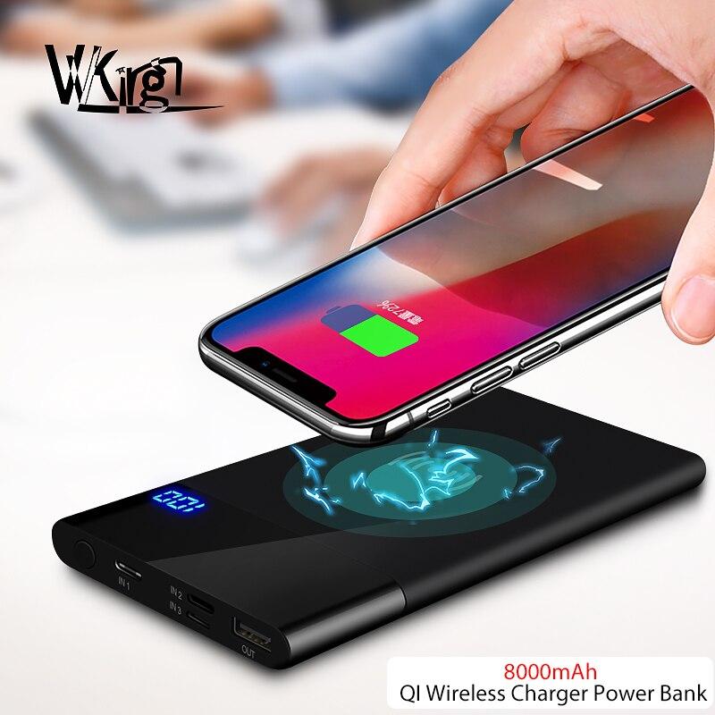 VVKing Power Bank QI Sans Fil Chargeur 8000 mah Pour iPhone X XS Xr 8 plus la Batterie Chargeur Sans Fil Powerbank Pour samsung S9 S8 Plus