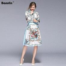 Banulin New Arrival 2019 Fashion Runway Spring Dress Womens Long Sleeve Elegant Slim Floral Print Knee Length Dresses B5797