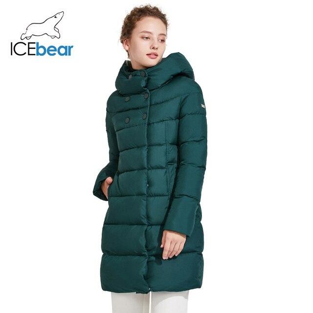 ICEbear 2018 Модная зимняя верхняя одежда средней длины на двухсторонней молнии тёплый красивый пуховик со стоячим воротником 16G6128D