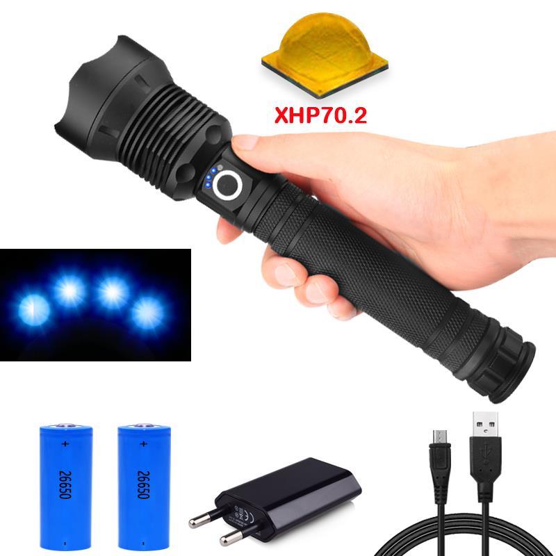 50000 lumen XLamp xhp70.2 mächtigsten taschenlampe usb Zoom led taschenlampe xhp70 xhp50 18650 oder 26650 akku jagd