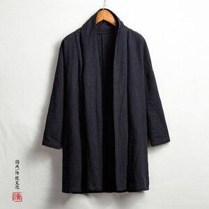 Мужская длинная куртка Kongfu, свободный хлопковый и льняной кардиган высокого качества