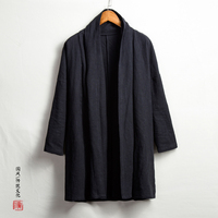 Men High Qualiyt Cotton Linen Long Jacket China Style Kongfu Coat Male Loose Kimono Cardigan Overcoat