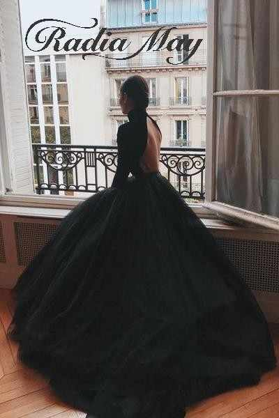 Vintage High Neck Open Back Black Gothic Wedding Dress Long Sleeves Ball  Gown Princess Victorian Plus Size Russian Wedding Gowns