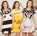 Camisola das mulheres vestido de verão dos desenhos animados manga curta camisola vestido de mulher para casa