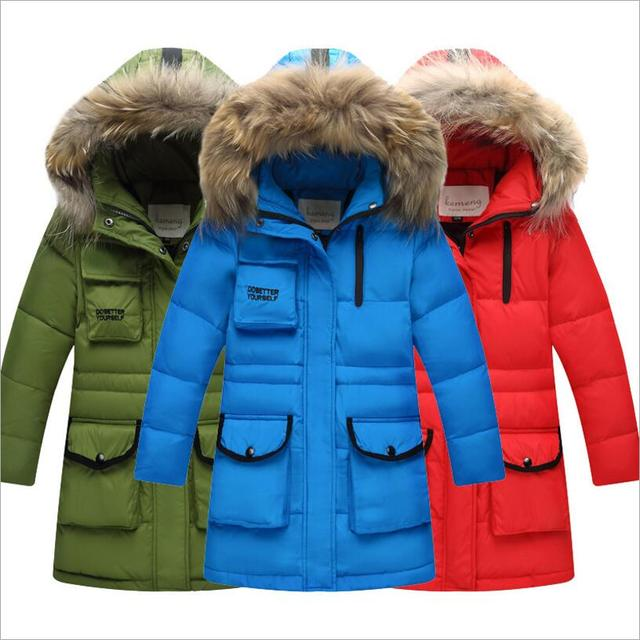 52f3fb330 US $46.53 10% OFF|Children Winter Boy White Duck Down Jacket Girls Fashion  Hooded Thick Warm Coat Kids/Baby Real Fur Collar Solid Color Jacket -in ...