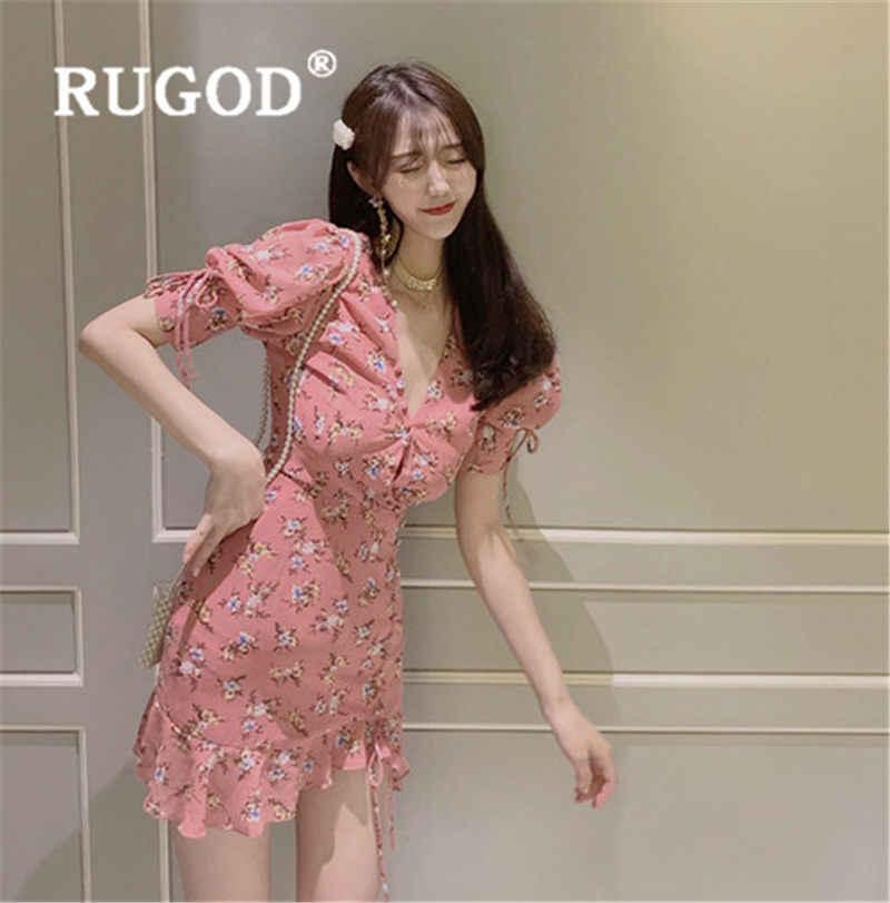 RUGOD 2019 Новое поступление Цветочное платье с рюшами женское платье с v-образным вырезом нерегулярный край летнее платье повседневное корейское платье
