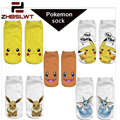 ZHBSLWT Pokemon New Arrival Kawaii Harajuku Women Socks 3D Printed Leisure Socks Pikachu Novelty Low Cut Ankle Cute Socks