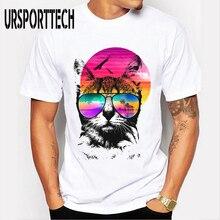 Newest Hipster T Shirt Men Summer Fashion Casual 3D Cat Print Shirts Short Sleeve O Neck Novelty Oversized Soft White