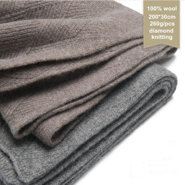 Naizaiga 100% Wool GREY BROWN Diamond Knitting 260g Wen Ladies Winter Warm Long Scarf Shawl ,QYR7