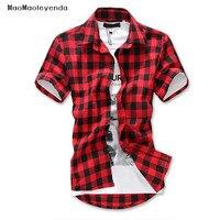 패션 레드 블랙 블루 남성 격자 무늬 셔츠 짧은 소매 남성 체크 셔츠 남성면 남성 셔츠 인과 그리드 체크 셔츠 Silm