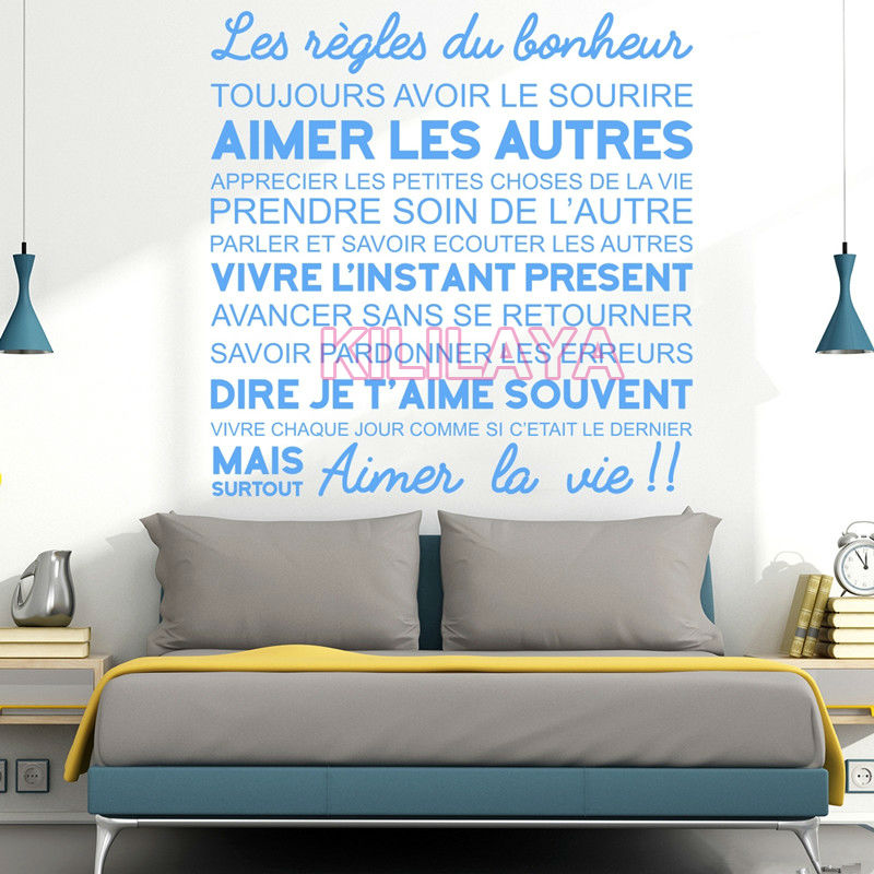 French Citations Wall Stickers The Rules Of Happiness Vinyl Wall Sticker  Walls Decals Home Decor Living Room Decoration Wall Art In Wall Stickers  From Home ...